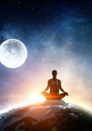 Young woman sitting on Earth planet and meditating. Elements of this image furnished by NASA